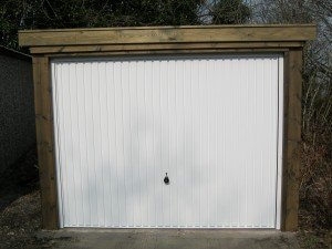 Hormann Vertical Up and Over in White with Timber Front By ABi Garage Doors