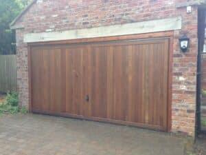 Hormann Vertical Up and Over Cedar Timber Door By ABi Garage Doors