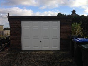 Hormann Georgian Up and Over in White with Timber Front By ABi Garage Doors