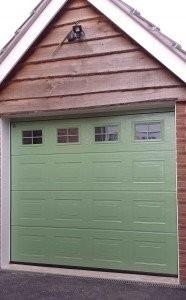 Hormann Sectional Garage Door in Pale Green