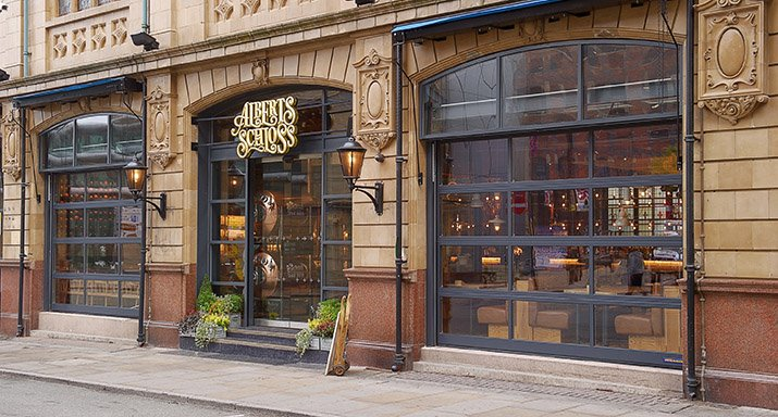 Manchester's Albert's Schloss bar receive Hormann ALR67 Sectional doors from ABi Garage Doors