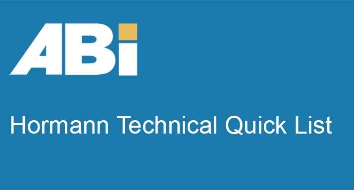 Hormann technical quick list
