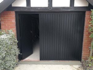 Select Side Hinged Garage Door Finished in Black By ABi