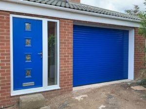 Composite Front Door & Roller Garage Door in Blue