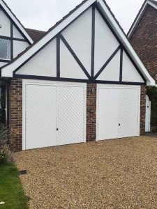 Chevron Up and Over Garage Doors in White