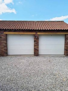 D Ribbed Sectional Garage Door in White