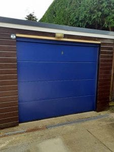 Sectional Garage Door L Ribbed in Blue