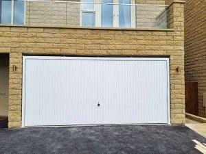 Double Vertical Up and Over Garage Door in White
