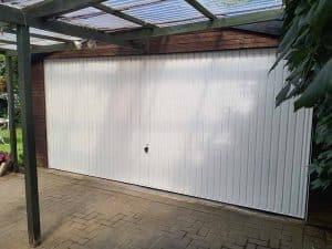 Double Vertical Up and Over Garage Door White