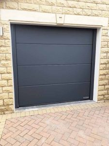 Large Ribbed Sectional Garage Door in Anthracite Grey Silkgrain